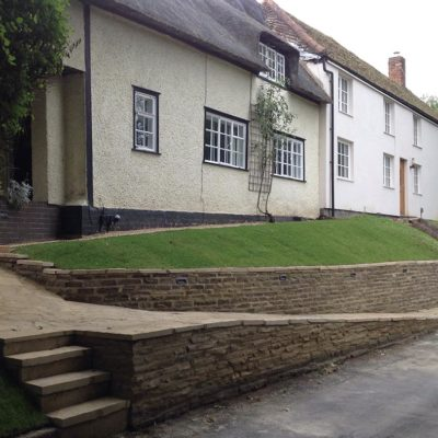 Yorkstone Walling and Paving outside a cottage